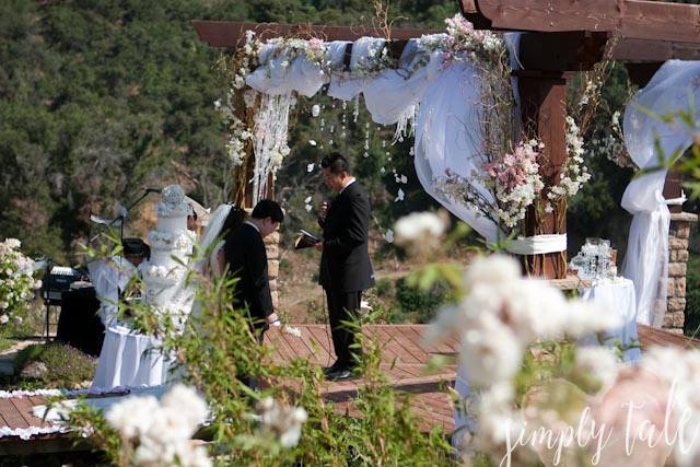 gold wedding, crystal, ceremony site, gazebo, wedding, cherry blossoms, ceremony