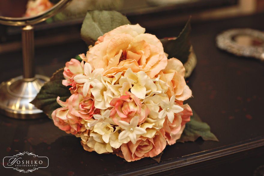 vintage bouquet, peach bouquet, silk bouquet