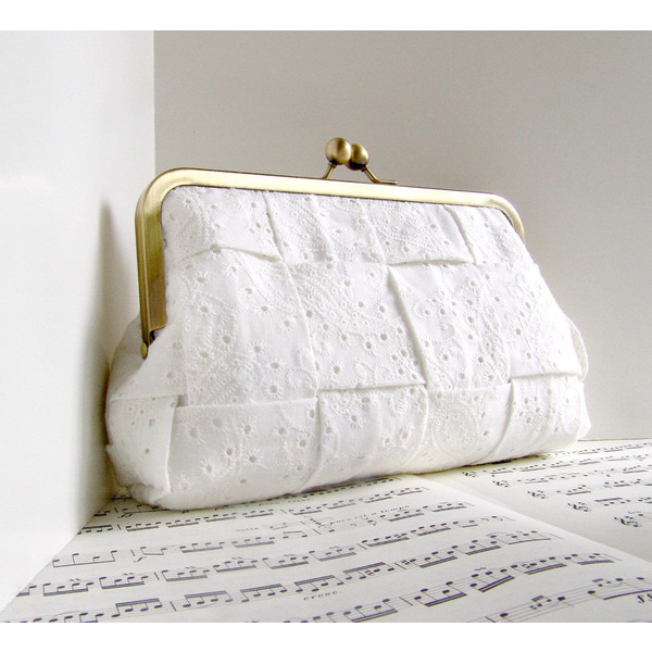 White clutch purse, classic bridal clutch, cotton eyelet woven clutch bag, wedding fashion