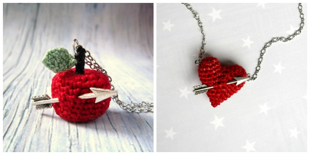 crochet necklace, heart and arrow necklace,apple crochet necklace, crochet necklace