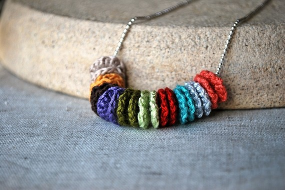 rainbow necklace, crochet necklace