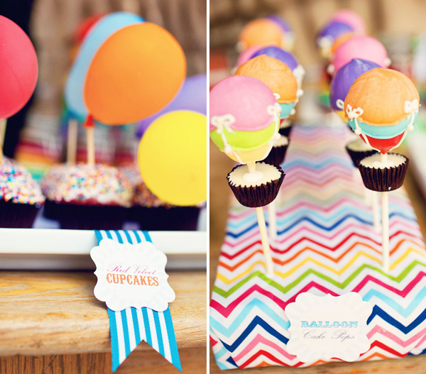Hot air balloon party, hot air balloon cake