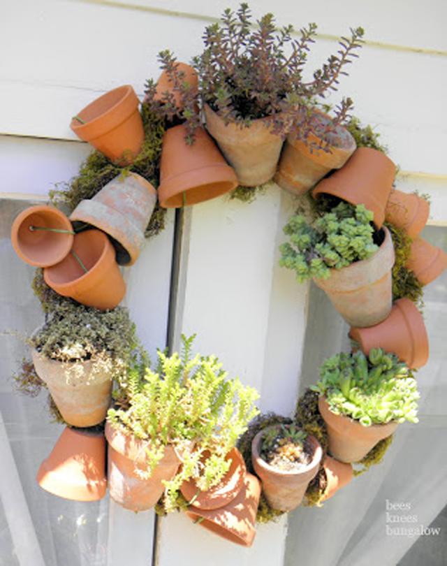 pot wreath, succulent wreath