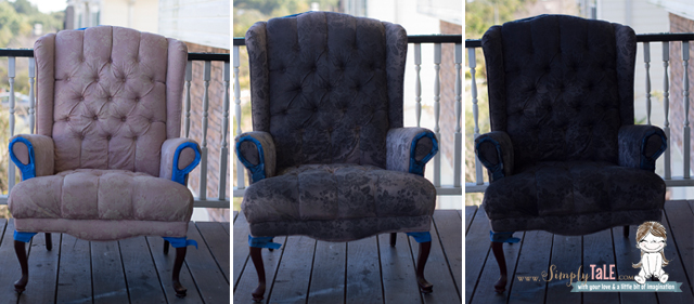 fabric paint, fabric spray paint, how to paint fabric, wing back chair