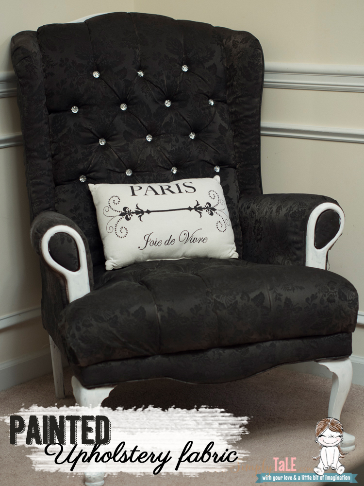 ... fabric spray paint how to paint fabric wing back chair & Chair transformation Tutorial: How to paint Upholstery Fabric ...