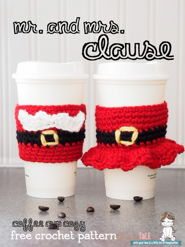 crochet, santa clause, sleeves, cozy, mug cozy