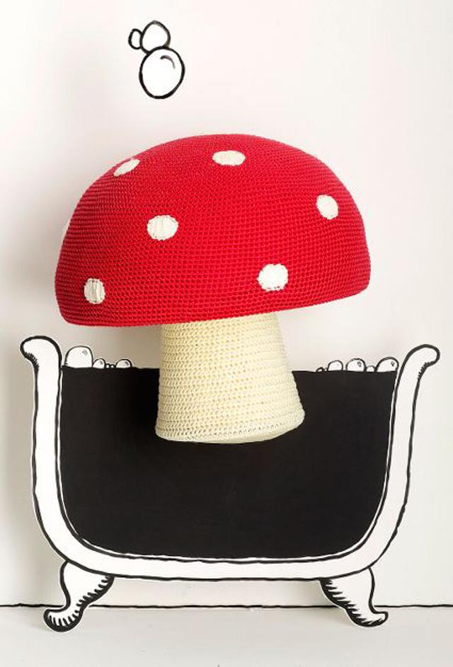 mushroom stool, mushroom toadstool, diy mushroom stool, mushroom crochet, anthropologie