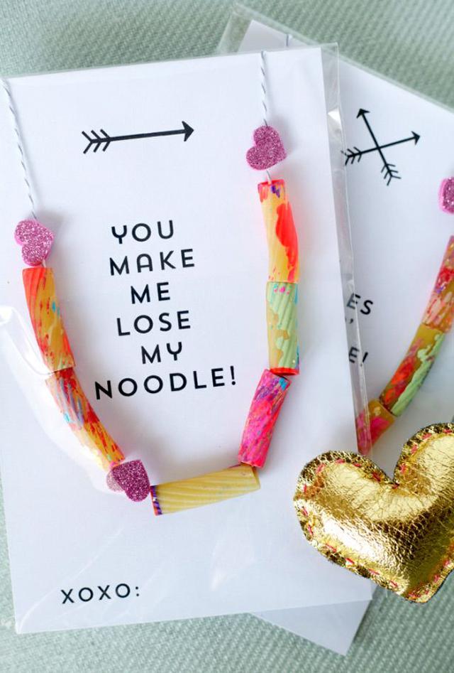 valentine, valentines gift, gift exchange, necklace, pasta necklace