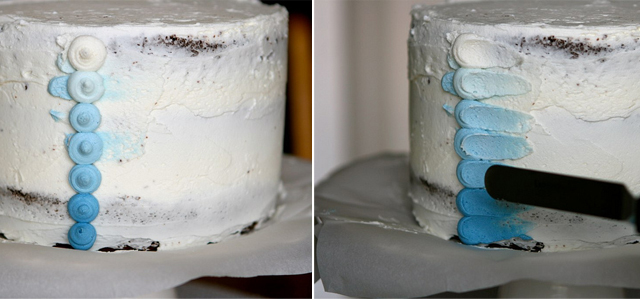 buttercream cake, blue cake, seaside cake, tutorial, wilton tip, petal cake
