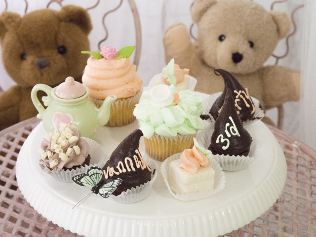 tea party, cupcake, pastel, girl's party, birthdaycupcakes, teddy bear, spring, brand rep