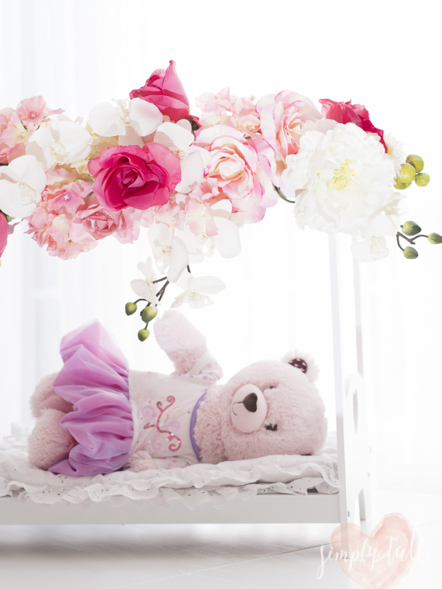 doll bed, flowery doll bed, romantic bed, shabby chic bed, built a bear