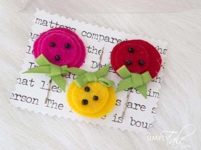 spring, poppy, poppy hair pin, hairpin, felt, flower hair pin, flower