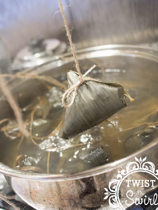 bamboo leaves, Chinese rice dumpling, chinese snack, chinese food, taiwanese, bacang, bakcang, bakcang babi, bakcang ketan, zong zi