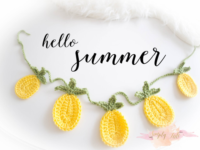 crochet, free crochet pattern, pineapple, banner, bunting, wall decor