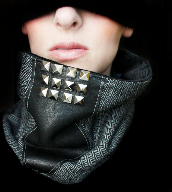 cowl, masculine, diy collar, ps i made this, neck warmer, stylish, swag, fashion, rock and roll, punk, diy neck warmer, studded