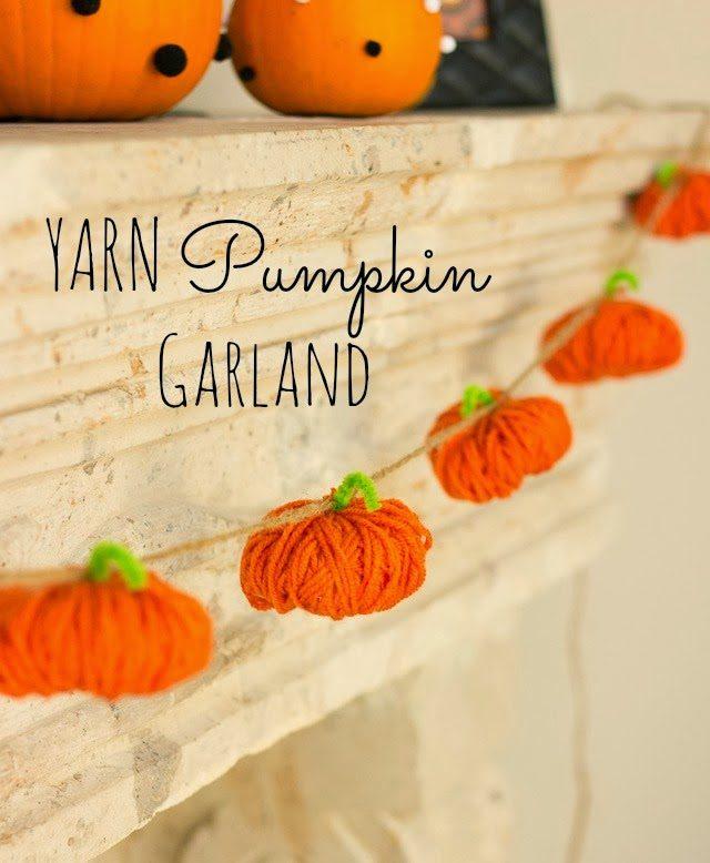 pumpkin garland, diy garland, halloween decor, yarn, fall craft, kids craft