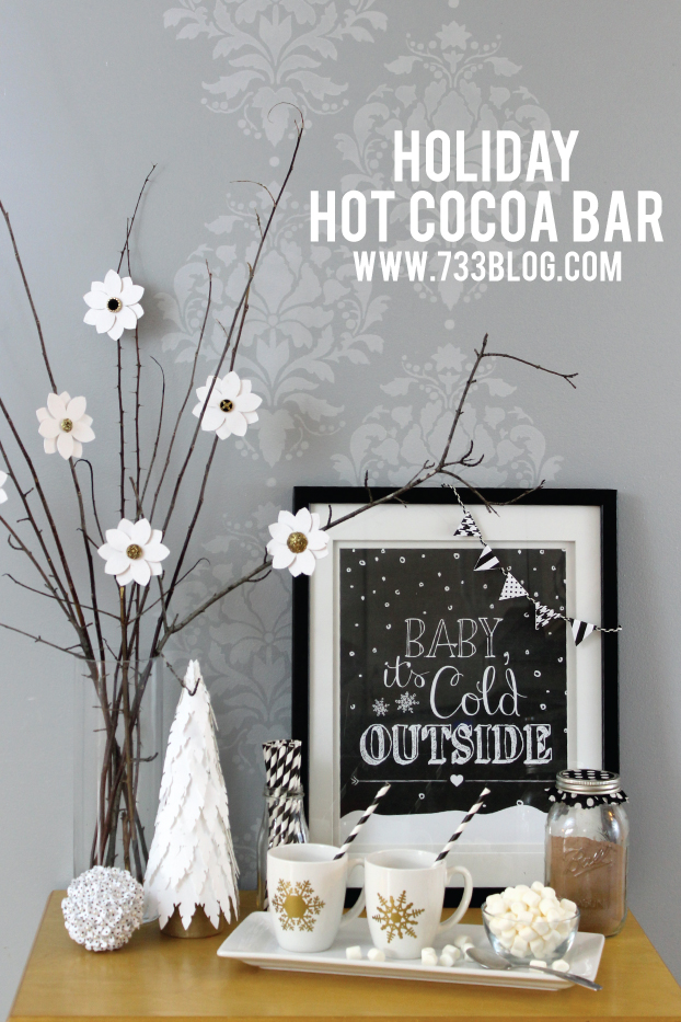 christmas decor, free printable, wall art, chalkboard, baby it's cold outside
