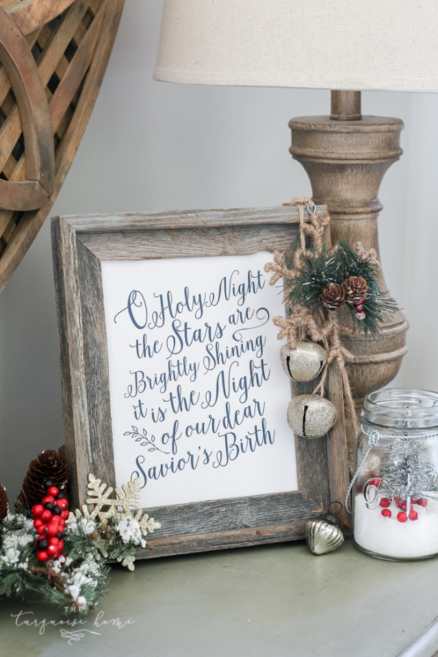 christmas decor, free printable, wall art, chalkboard, o holy night, christmas quote, chirstmas song