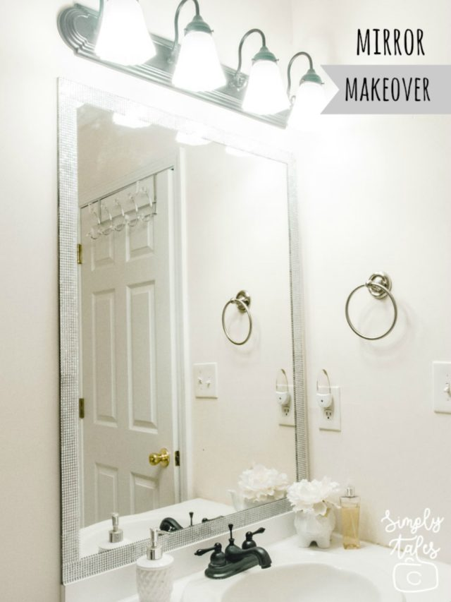 mirror makeover, dressing up mirror, home improvement, bathroom improvement, home depot, mirror frame, handy woman, diy bathroom mirror, diy frame, audrey hepburn