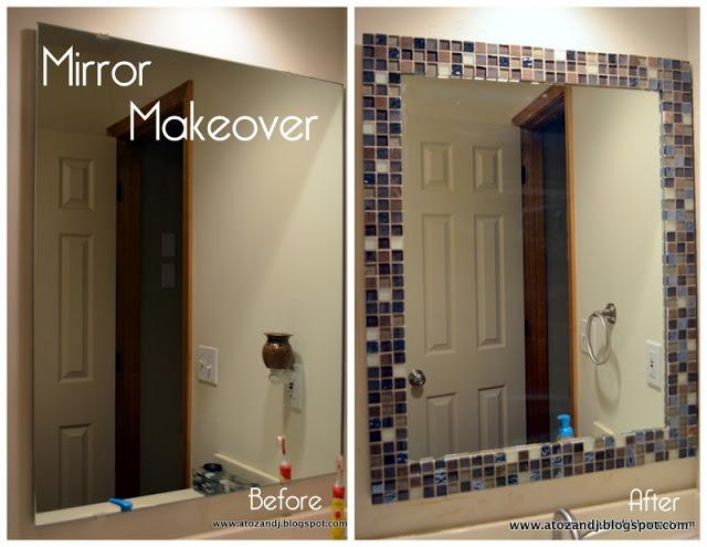 tile frame, mosaic tile frame, mirror makeover, diy mirror frame