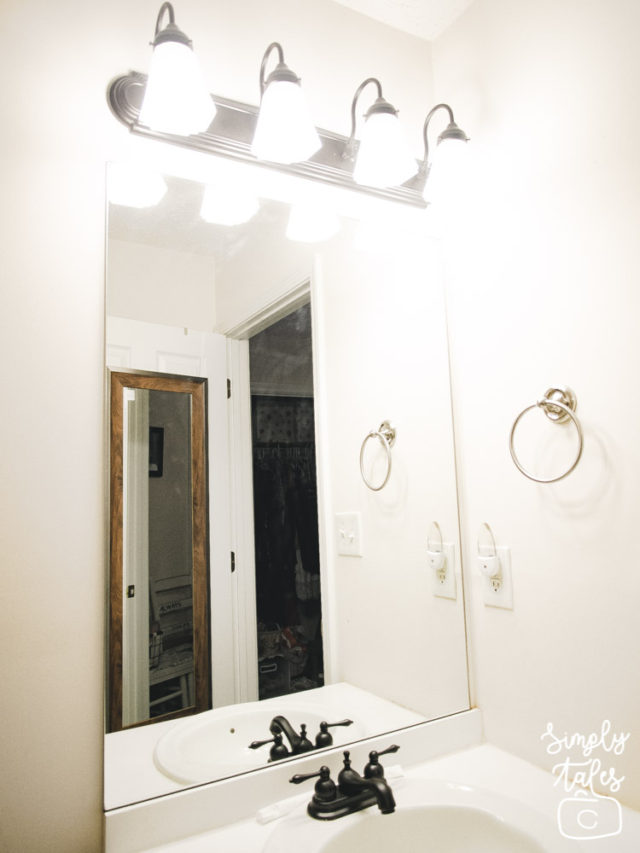 mirror makeover, dressing up mirror, home improvement, bathroom improvement, home depot, mirror frame, handy woman