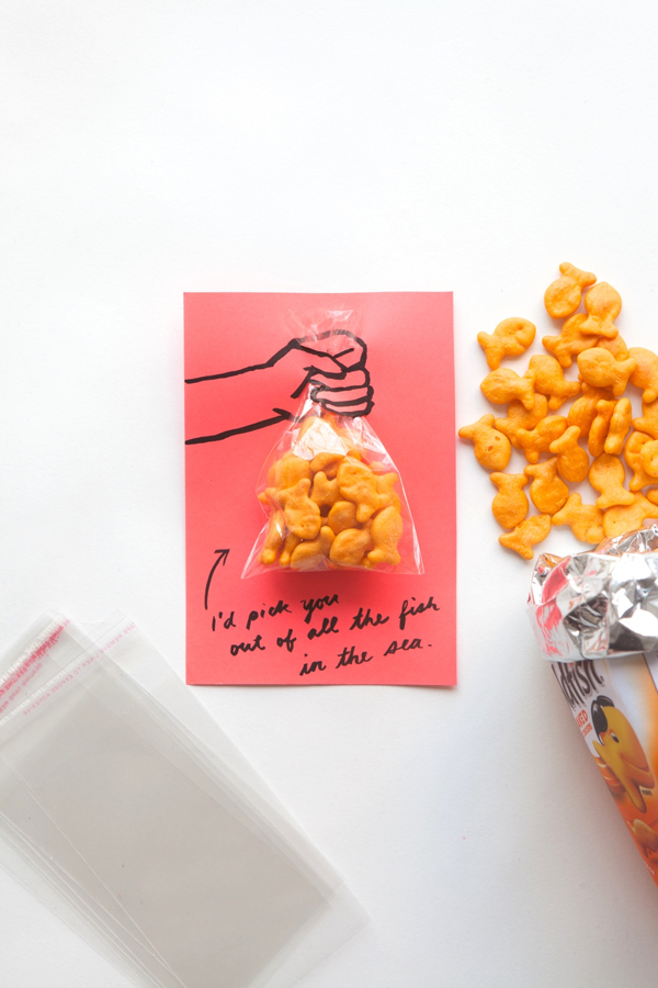 gold fish, valentines card, kids project, valentine gift exchange