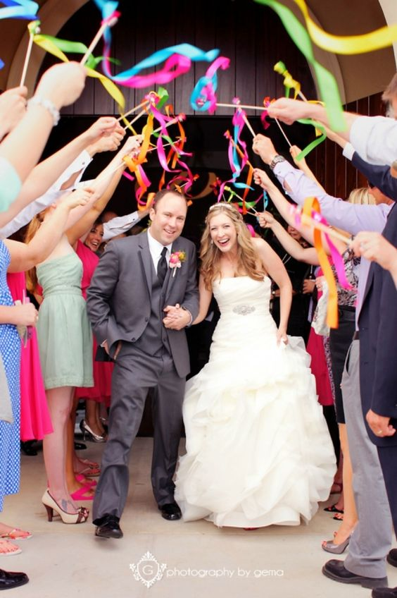 ribbon wand, wedding, exit, after ceremony, streamers, happy