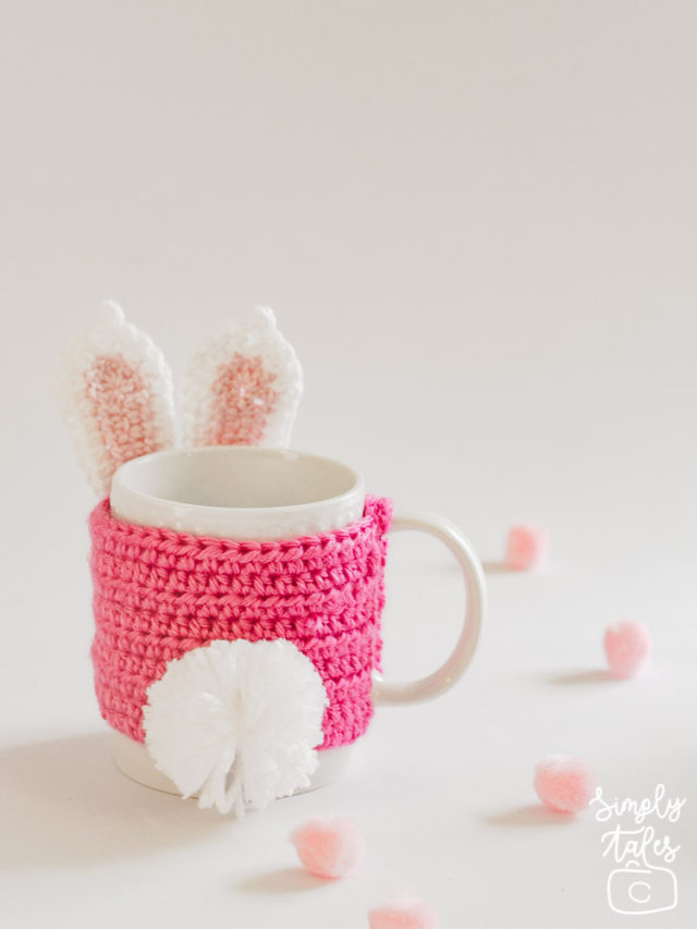 mug cozy, cup sleeve, crochet, bunny, pom pom, easter, mothers day, pink bunny