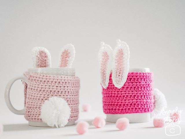 mug cozy, cup sleeve, crochet, bunny, pom pom, easter, mothers day, pink bunny, gift for her