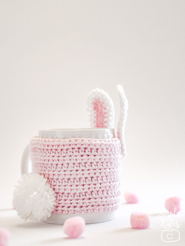 mug cozy, cup sleeve, crochet, bunny, pom pom, easter, mothers day, pink bunny, cute bunny, crochet idea