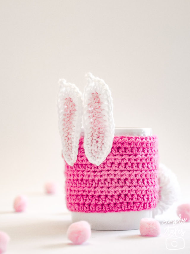 mug cozy, cup sleeve, crochet, bunny, pom pom, easter, mothers day, pink bunny, crochet pattern
