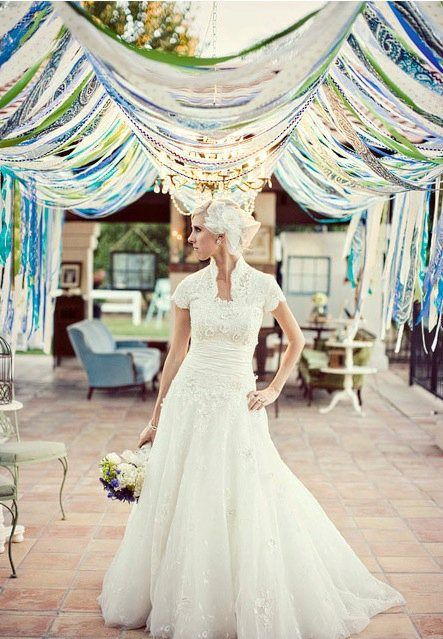 ribbn arch, wedding, easy wedding decor, diy wedding