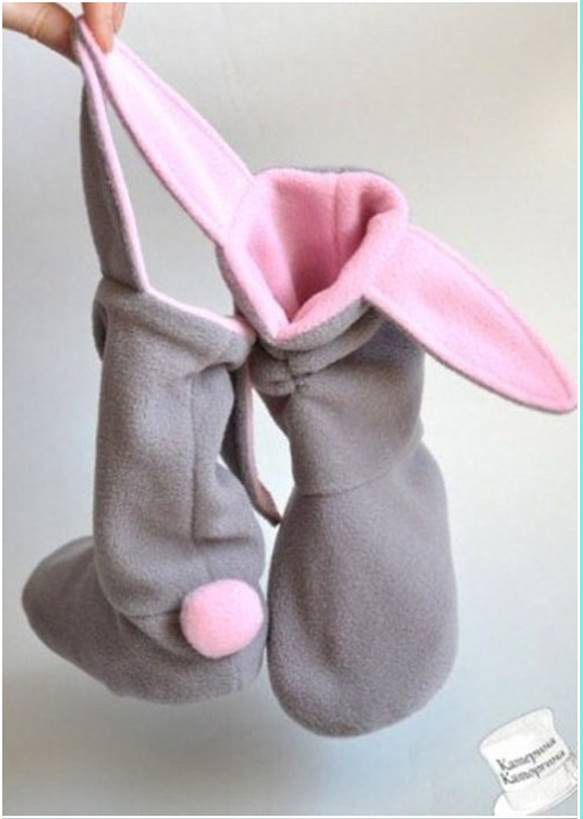 boots, bunny, diy slippers, rabbit, sewing, fleece