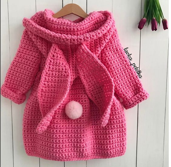 crochet coat, bunny coat, cute outfit, for her, fashion