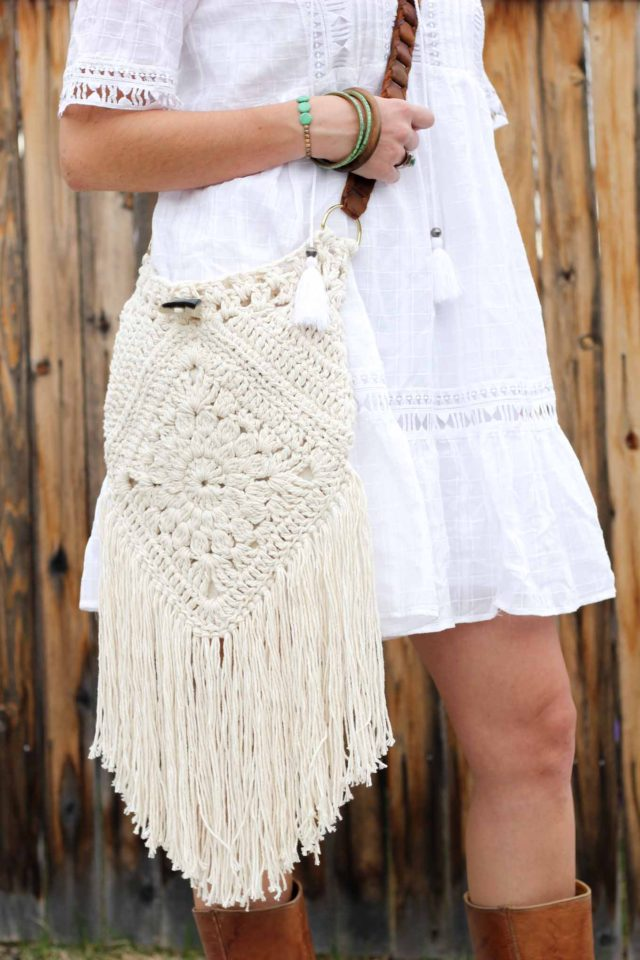 bohemian, boho, crochet bag, homemade, diy, purse, free crochet pattern, fashion