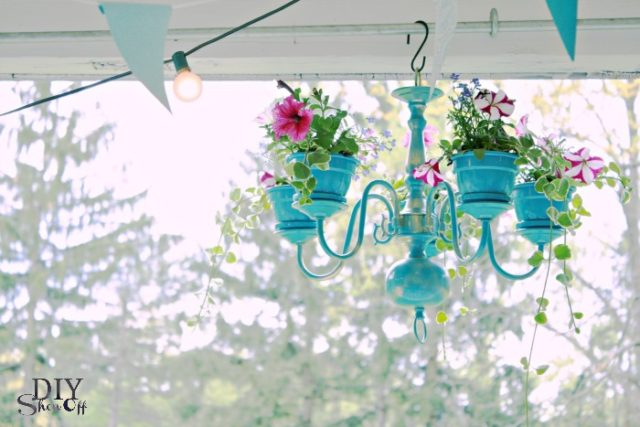 chandelier, diy handelier, floral chandelier, birthday, tea party, porch, chandelier planter, hanging plant