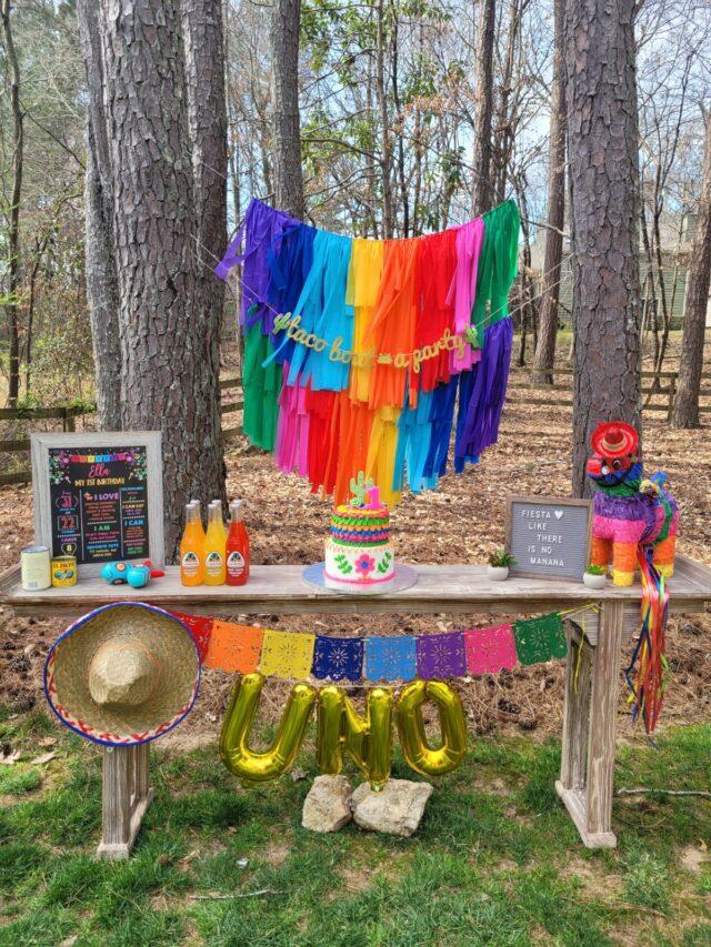 cinco de mayo, diy garland, rainbow backdrop, rainbow garland, dessert table