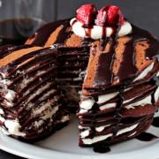 chocolate pacncake, Pancake, pancake cake, christmas cake