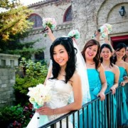 blue and pink wedding