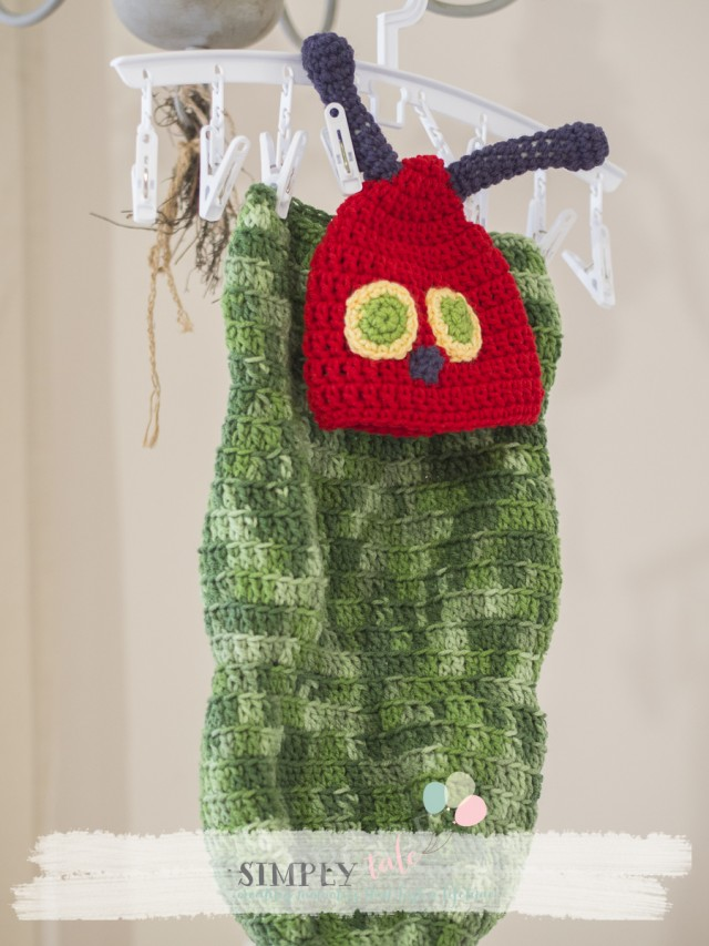 The very hungry caterpillar cacoon crochet