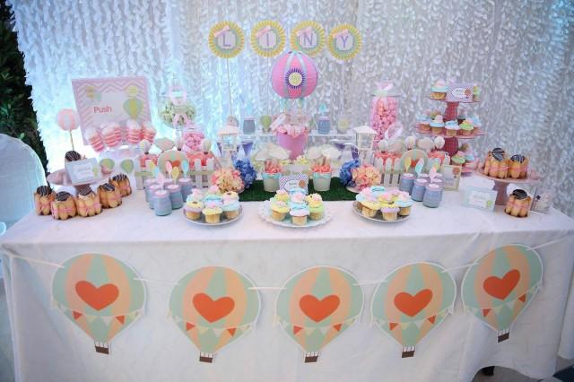 Hot air balloon party, hot air balloon cake
