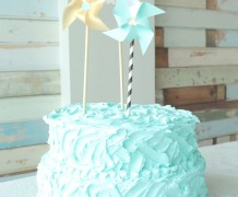buttercream cake, blue cake, seaside cake, tutorial, wilton tip