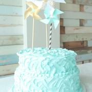 buttercream cake, blue cake, seaside cake, tutorial, wilton tip