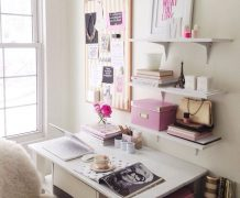 feminim office, gold and pink office, pretty office