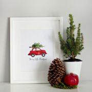 christmas decor, free printable, wall art, chalkboard, o holy night, vw, red christmas buggy