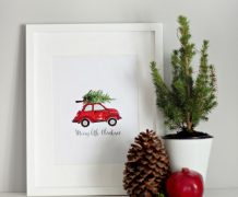 christmas decor, free printable, wall art, chalkboard, o holy night, vw, red christmas buggy