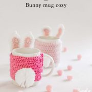mug cozy, cup sleeve, crochet, bunny, pom pom, easter, mothers day